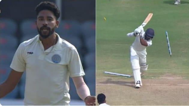Siraj knocked over Rahul for a duck(Screengrab)
