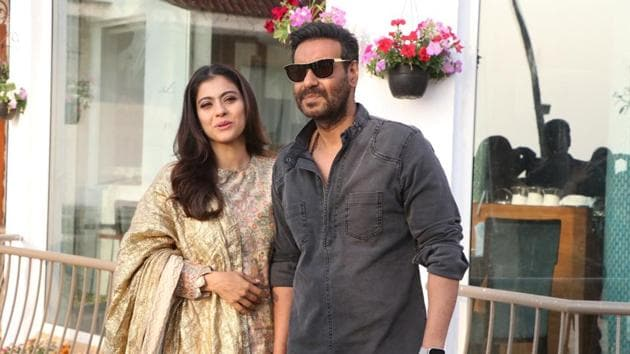 Kajol and Ajay Devgn during the promotions of their upcoming film Tanhaji: The Unsung Warrior.(IANS)