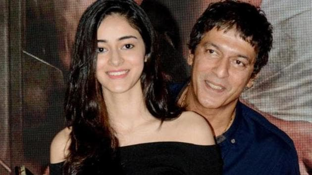 Ananya Panday poses with dad and actor Chunky.