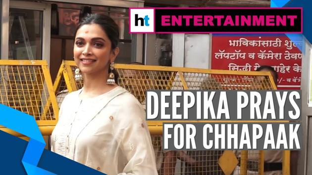 Actor Deepika Padukone visited Siddhivinayak Temple to pray for her latest film Chhapaak. Deepika visited the temple to seek blessings of Lord Ganesha. Chhapaak is based on the life of acid attack survivor Laxmi Agarwal. Directed by Meghna Gulzar, film also features Vikrant Massey.