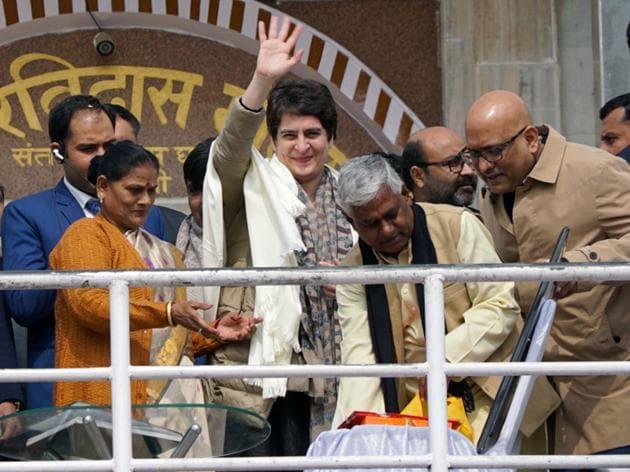 Priyanka Gandhi Vadra arrives to meet students of Banaras Hindu University and members of civil society.(ANI)