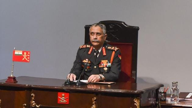 Chief of Army Staff Gen M M Naravane during the press conference in New Delhi.(PTI)