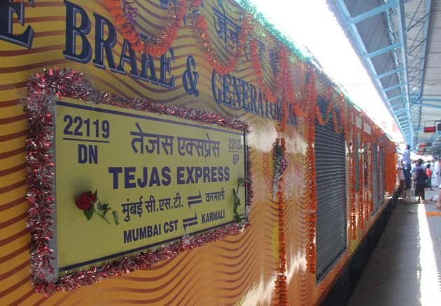 The Tejas Express India's First semi-high speed, fully airconditioned train was flagged off by Union railway minister Suresh Prabhu from CST for Goa in May 2017.(Photo by Bhushan Koyande/ Hindustan Times)