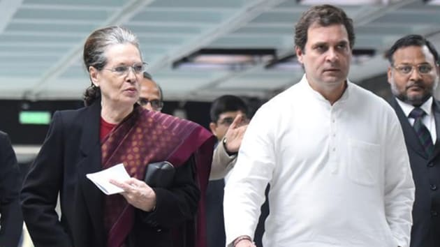 Congress president Sonia Gandhi and party leader Rahul Gandhi arrive to attend an Opposition leaders' meeting, in Parliament Annexe building, in New Delhi, on Monday.(Sonu Mehta/HT Photo)