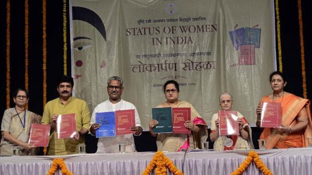 From left - Anjali Deshpande, Murlidhar Mohol, Krushna Gopal, Shashikala Wanjari, Grrta Gokhale and Manisha Kothekar at Launch of status of women in India report.(Ravindra Joshi/HT PHOTO)
