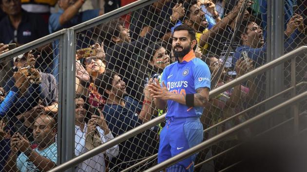 Indian captain Virat Kohli during the first one day international (ODI) cricket match.(PTI)