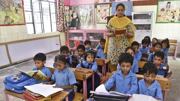 At age 6, 47.5% children are in anganwadis or pre-primary classes, while 31.6% are in Std I and 16.1 % are in Std II or in higher classes.(HT file)