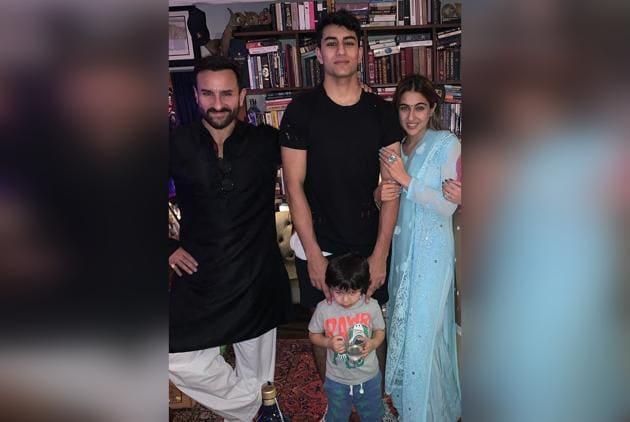 Saif Ali Khan with his children Taimur Ali Khan, Ibrahim Ali Khan and Sara Ali Khan.