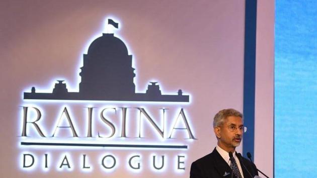 Foreign minister S Jaishankar speaking at the Raisina Dialogue in New Delhi on Wednesday.(Twitter/@raisinadialogue)