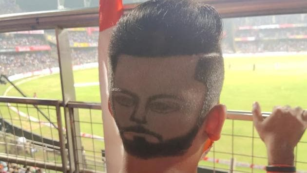 Virat Kohli fan with unique hairstyle.(Twitter)