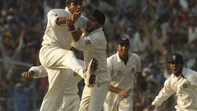 Harbhajan Singh celebrates with Sourav Ganguly in the Kolkata Test in 2001.(Getty Images)