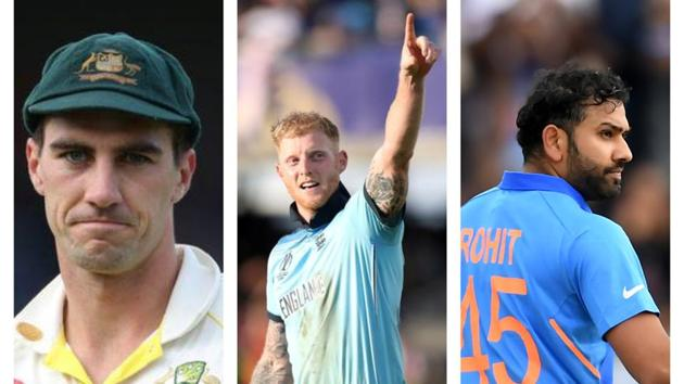 Cummins, Stokes, Rohit(HT Collage)