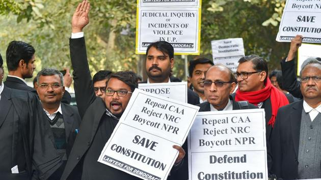 Lawyers protest against NPR, NRC and CAA in New Delhi on Tuesday.(PTI Photo)