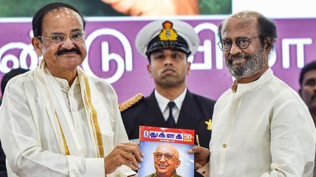 Vice President M Venkaiah Naidu along with Tamil Superstar Rajinikanth releases the 50th anniversary souvenir of Thuglak magazine in Chennai, on Tuesday.(PTI Photo)