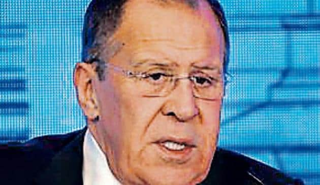 """Lavrov criticised the insistence of Western powers on a """"rules-based world order"""" and said the focus should be on international law."""