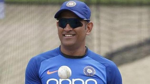 File photo of MS Dhoni during a practice session.(ANI Photo)