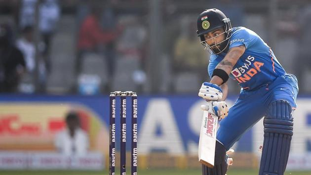 India captain Virat Kohli will have a chance to rewrite the record books when India take on Australia in the 2nd ODI at Rajkot(PTI)