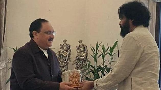 Jana Sena Party chief Pawan Kalyan met BJP working president JP Nadda at his residence in New Delhi recently.(ANI PHOTO.)