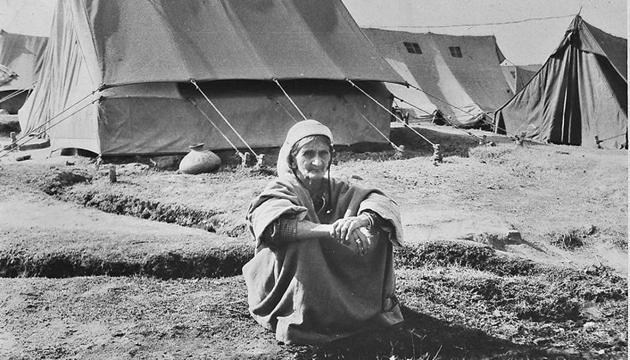 A Kashmiri Pandit woman at a refugee camp.