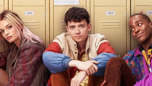 Emma Mackey, Asa Butterfield and Ncuti Gatwa in a poster for Netflix's Sex Education.