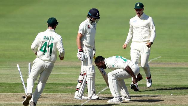South Africa's Kagiso Rabada celebrates taking the wicket of England's Joe Root(REUTERS)