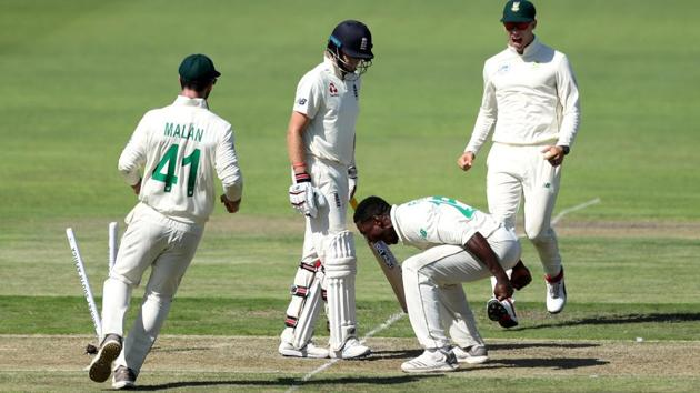 South Africa's Kagiso Rabada celebrates taking the wicket of England's Joe Root.(REUTERS)
