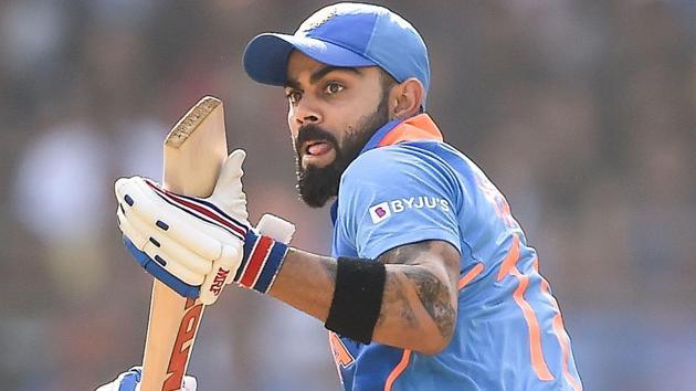 Virat Kohli plays a shot during the ODI encounter between India and Australia.(PTI)