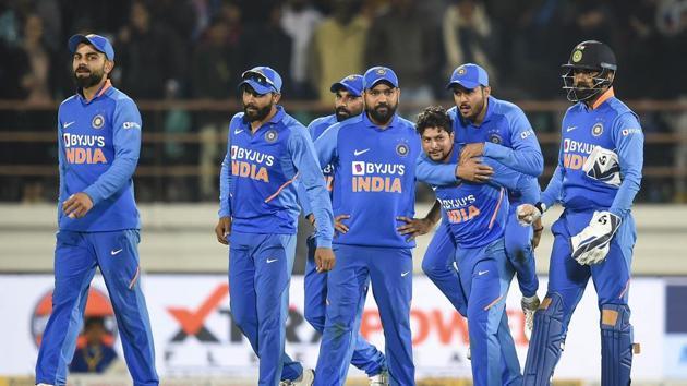 Indian bowler Kuldeep Yadav with his teammates.(PTI)