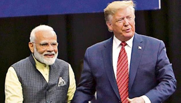 """PM Modi and Trump at the """"Howdy, Modi!"""" event.(HT File)"""