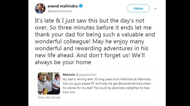 Anand Mahindra's tweet has garnered over 21,500 likes and tons of appreciation from netizens.(Twitter/@anandmahindra)