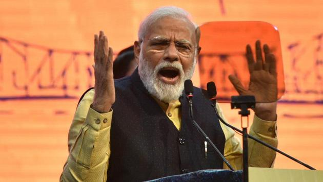 Prime Minister Narendra Modi addresses on the occasion of 150th-anniversary celebration of Kolkata Port Trust, in Kolkata.(Photo: Samir Jana/ Hindustan Times)