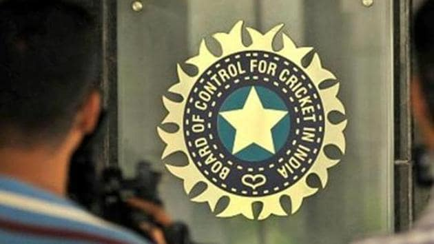 A view of logo of the Board of Control for Cricket in India.(Hindustan Times via Getty Images)