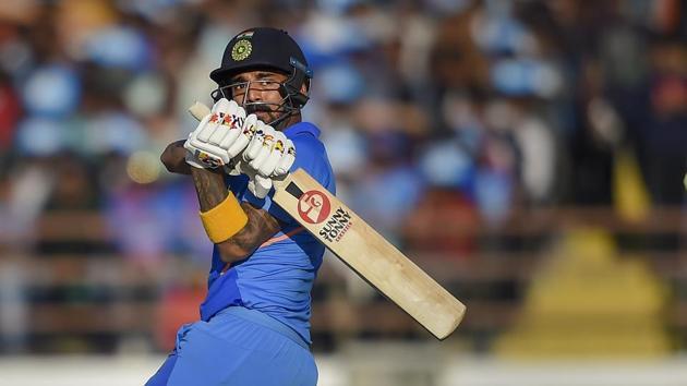 Indian batsman KL Rahul plays a shot during the second one day international (ODI) cricket match between India and Australia at Saurashtra Cricket Association Stadium in Rajkot, Friday, Jan. 17, 2020.(PTI Photo/Kunal Patil)(PTI1_17_2020_000139B)(PTI)