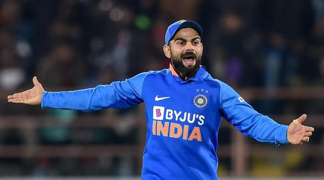 Indian captain Virat Kohli appeals unsuccessful for an LBW decision during the second one day international (ODI) cricket match between India and Australia at Saurashtra Cricket Association Stadium in Rajkot, Friday, Jan. 17, 2020.(PTI)