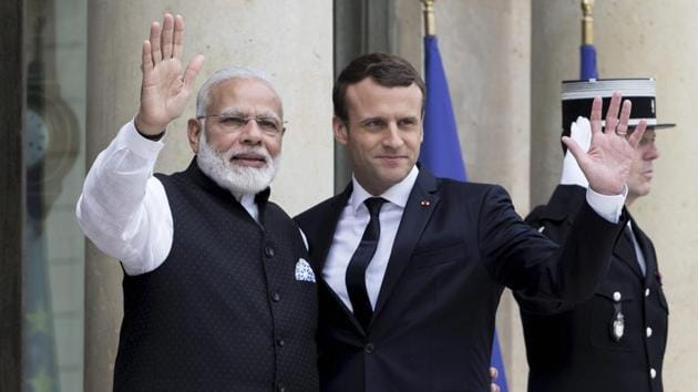 French President Emmanuel Macron and Indian Prime Minister Narendra Modi, Elysee Palace in Paris, France, June 3, 2017(AP)