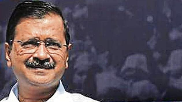 "Delhi CM Arvind Kejriwal launches the ""Kejriwal ka guarantee card"" at the AAP office in New Delhi.(Arvind Yadav/HT)"