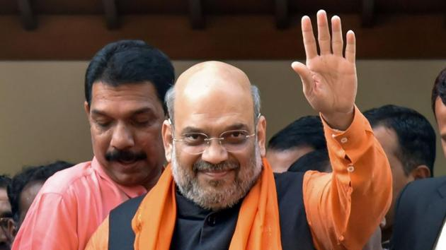 Home Minister Amit Shah after visiting the residence of Union minister Pralhad Joshi in Hubballi, on Sunday.(PTI Photo)