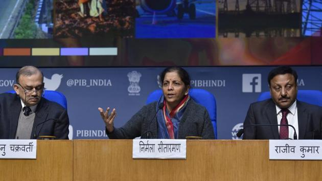 Union finance minister Nirmala Sitharaman says the government wants to work with the industry to achieve the $5 Trillion economy target.(Sanjeev Verma/HT PHOTO)