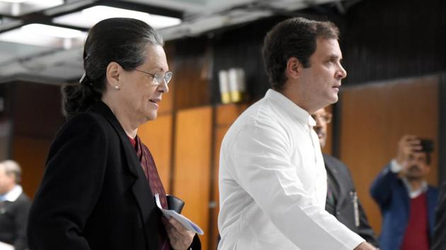 Congress president Sonia Gandhi and party leader Rahul Gandhi arrive to attend a meeting of the Opposition leaders, in Parliament Annexe building in New Delhi on January 13.(Sonu Mehta/HT Photo)