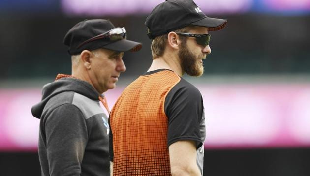 New Zealand's Kane Williamson, right, and coach Gary Stead(AP)