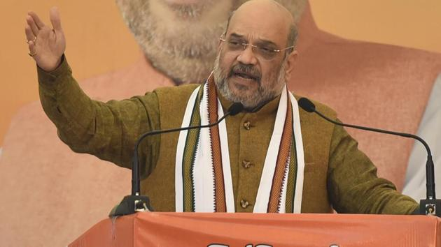Amit Shah reiterated that there is no provision for taking the citizenship of anyone anywhere under CAA and said that people will rather get India's citizenship.(Sanjeev Verma/HT PHOTO)