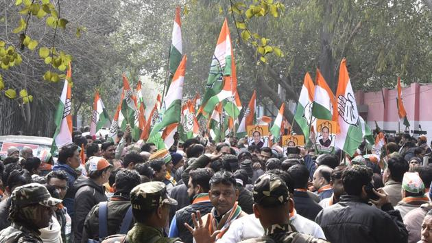 Congress supporters gather for filing of nomination by one of the party candidates for the upcoming Delhi Assembly election, New Delhi, Monday, January 20, 2020.(Sonu Mehta/HT Photo)