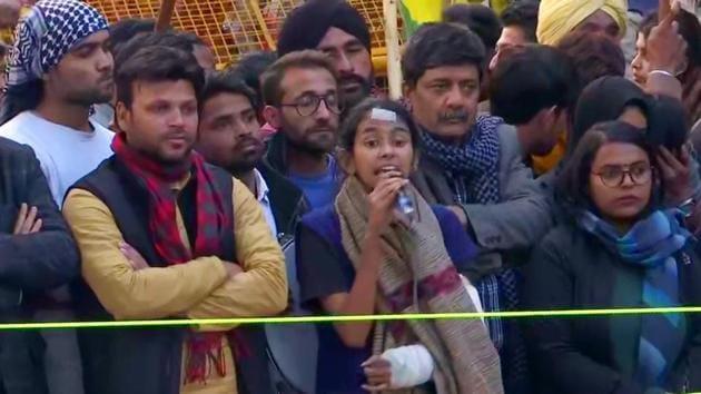 JNU Students' Union president Aishe Ghosh at a protest against CAA outside Jamia Millia Islamia in New Delhi last week.(ANI Photo)