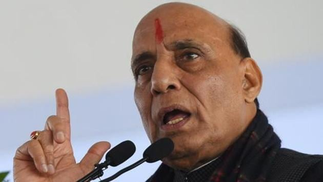 Defence Minister Rajnath Singh on Wednesday said Indian values consider all religions equal.(Mohd Zakir/HT PHOTO)