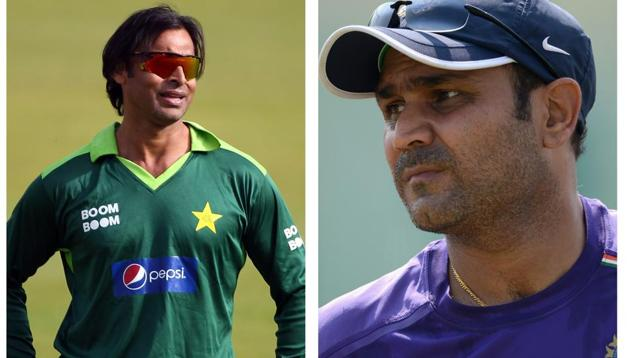 Shoaib Akhtar (L), Virender Sehwag (R)(HT Collage)