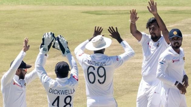 Suranga Lakmal after taking a wicket during the Test match between Sri Lanka and Zimbabwe.(Twitter)