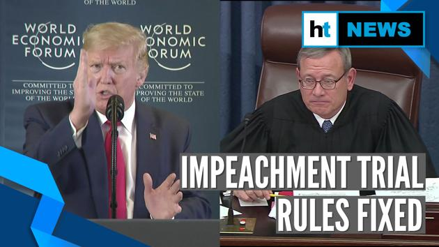 US President Donald Trump decried his impeachment trial. Trump called the impeachment attempt a 'hoax'. Trump commented on the trial on World Economic Forum sidelines. The impeachment process has reached the US Senate. Trump's Republican party is in majority in the Senate. On Day One, the Senate adopted rules for the trial. The marathon session went on for nearly 13 hours. Republicans & Democrats argued over summoning of witnesses. Democrats failed to secure the right to obtain White House files. Republicans also blocked a bid to subpoena Trump's ex-aide John Bolton. Both sides now have 24 hrs, spread out over 3 days, to argue their case.
