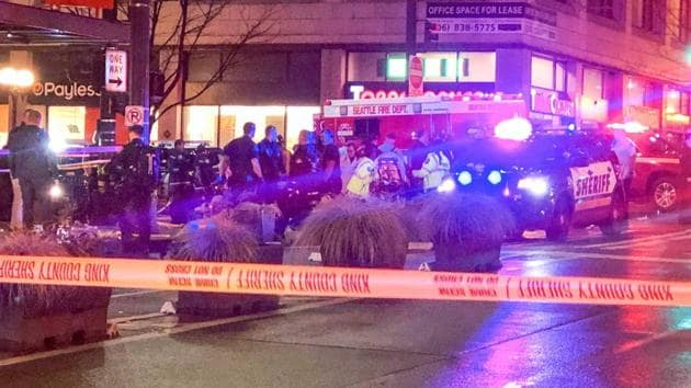 Police work the scene of a shooting on Third Avenue and Pine Street, Wednesday, Jan. 22, 2020, in Seattle.(AP)