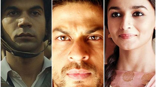 Rajkummar Rao, Shah Rukh Khan and Alia Bhatt, in stills from Newton, Chak De! India and Raazi.