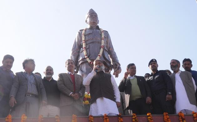 Haryana home minister Anil Vij during the inauguration of the 12 foot tall statue of Netaji Subash Chandra Bose in Ambala on Thursday.